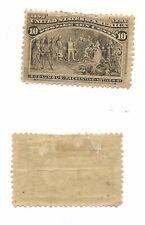 U.S 10 cent Columbian - Scott # 237 - Mint, hinged (rough perfs top) - cat $110