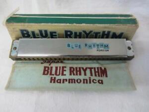 Vintage BLUE RHYTHM Harmonica in Key G, Boxed