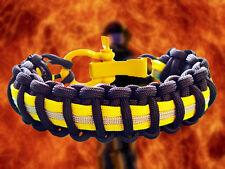 Firefighter Turnout Gear Paracord 550 Survival Bracelet w/ Yellow Adj Shackle -B