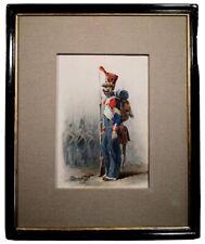 MILITARIA. Militaire Infanterie de Ligne 1809. Aquarelle sur papier. France XIXs