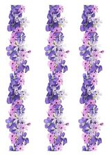 A4 Edible Decor Icing Sheet Purple Lilac Viola Flowers Ribbon Border Edging