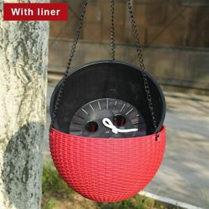 Resin Hanging Plant Pots Basket Outdoor Hanging Pot Holder Basket For Wall Decor
