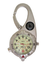 Mini Clip Watch – Compact Analog Display Carabiner Silver Watch Ultra Bright LED
