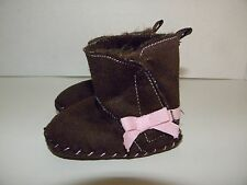 Infant Baby Girl Booties BOOTS ~Size 2 fits 6-9 months~Soft Brown Suede Material