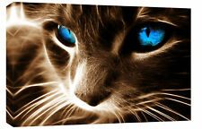 LARGE CAT BROWN BLUE MODERN BOX CANVAS ART PICTURE A1