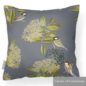 Designer Outdoor Garden Waterproof Cushions - Bird on Elderflower