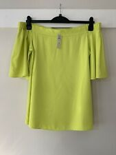 River Island Lime Yellow Neon Bardot Top Blouse 14