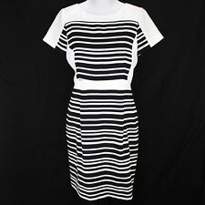 Tahari Arthur Levine Dress Sz 14 Black White Stripe Short Sleeve Textured Sheath