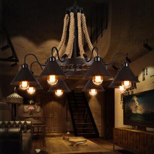 Vintage Loft Black Metal Cone Shade Hemp Rope Hanging Chandelier Pendant Lights