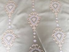 BRAEMORE MATMI SANDSTONE TAN EMBROIDERED MEDALLION DRAPERY FABRIC OUTLET BTY