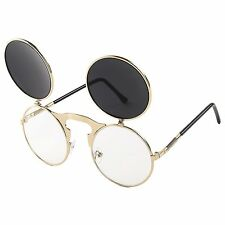 Classic Small Retro Steampunk Circle Flip Up Glasses Sunglasses Black-Gold
