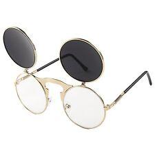 Classic Small Retro Steampunk Circle Flip Up Glasses Sunglasses Black-Gold