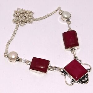 "RUBY PEARL 925 SILVER PLATED NECKLACE 17"", AB-7931"
