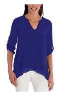 Fever Ladies' Roll Tab Blouse, Cobalt Sz:Small