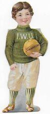 1890's Enameline Illinois Wesleyan U Basketball Player Victorian Trade Card
