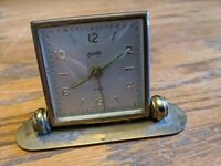 BRADLEY BRASS ALARM CLOCK GERMANY ROTATING STAND ANTIQUE ART DECO RARE SWIVEL