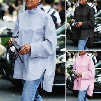 UK Ladies Retro Tunic Tops Long Sleeve Ruffle Collar Shirt Womens OL Blouse 8-26