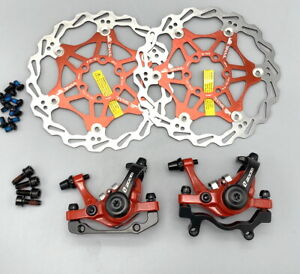 ZOOM DB-680 MTB Bike Mechanical Disc Brakes Calipers Front Rear Rotors 160mm Red