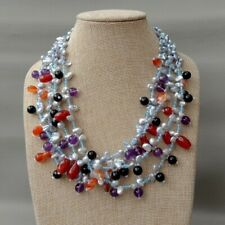 """4 Rows Cultured Lavender Keshi Pearl Amethyst Onyx agate Necklace 19"""""""