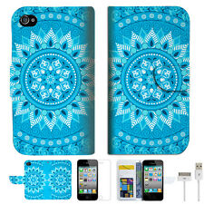 BLUE AZTEC TRIBAL Wallet Case Cover For Apple iPhone 4 4S -- A001