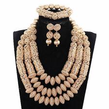 "18"" Dubai Jewelry Set Gold Plated Big Nigerian Wedding African Beads Jewelry Set"