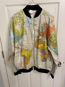 VTG Wearin The World Tyvek Map Jacket Windbreaker DuPont Kurt Cobain Sz XXL GUC