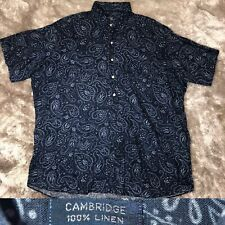 POLO Ralph Lauren CAMBRIDGE 100% Linen Paisley Hawaiian Pullover Button Up Shirt