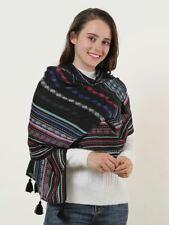Winter Scarf Shawl Warm Soft Black Geometric Pattern Scarves Tassels Womans