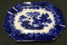 "Large 17 1/2""  ANTIQUE Flow Blue Platter ""SCINDE"" By Adam & Sons 1800's"