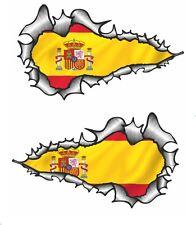 Largo Par Rasgado Rasgado Metal abierto de mano España Bandera España Pegatina de vinilo coche