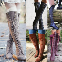 Ladies Knee High Wedge Heel Platform Shoes Womens Punk Goth Lace Up Biker Boots#