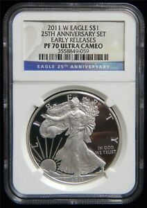 2011 W Proof Silver Eagle from 25th Ann, Set NGC PF70 UCAM #SP139