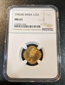 1942 B MS65 India 1/2 Anna NGC UNC KM 534b.2 George VI Bombay Mint