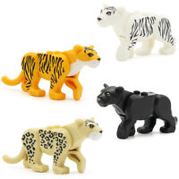 New 4pcs Snow Tiger Leopard Panther Puma Animal Collection Mini Figure Fit Lego