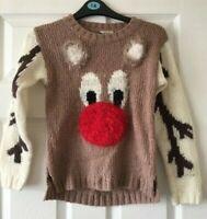 Girls Next Brown Cream Winter Christmas Jumper Rudolf Reindeer Age 9 Years B45