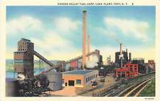 TROY NY HUDSON VALLEY FUEL CORP. COKE PLANT 1936 LINEN POSTCARD