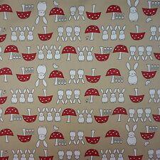 Tan Spring Bunny 100% Poplin Cotton Fabric (Per Metre)