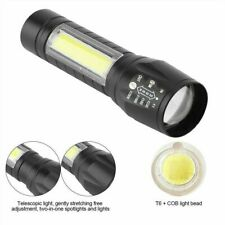 Portable T6 COB LED Tactical USB Rechargeable Zoomable Flashlight Torch Lamp 2h