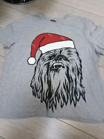 XL Star Wars Chewbacca T Tee Shirt Grey Santa Hat Xmas Christmas