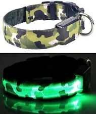 Pet Puppy Dog LED Light Collar Adjustable Waterproof Night Safety Nylon Harness