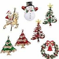 Fashion Crystal Snowman Santa Christmas Tree Brooch Pin Women Jewellry Gift Xmas