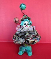 "Vintage Paper Mache Clown With Balloons 8"" Tall Art Studio Lace Collar Figurine"