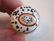 "Halcyon Days Enamel Trinket Box - Dalmation Dog - 1 1/8"" X 7/8"" - Nice"