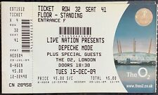 UNUSED DEPECHE MODE GIG TICKET THE O2  15th DECEMBER  2009