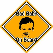 Bad Baby/Child On Board Car Sign ~ Baby Face Silhouette ~ Neon Orange