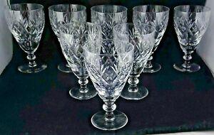8 Webb Corbett Royal Doulton Georgian Wine Glasses Fan Criss Cross Thumbprints