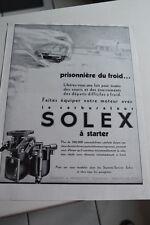 Ancienne publicité de presse - CARBURATEUR SOLEX A STARTER 2