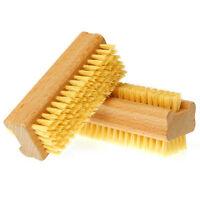 Wooden Double Sided Handle Nylon Bristle Manicure Scrubbing Nail Bath Brush