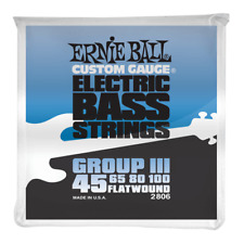 Ernie Ball 2806 Stainless Steel Flatwound Bass Guitar Strings 45-100 Group III