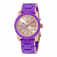 Diesel Franchise Women's Chronograph Purple Silicone and Steel Watch DZ5361